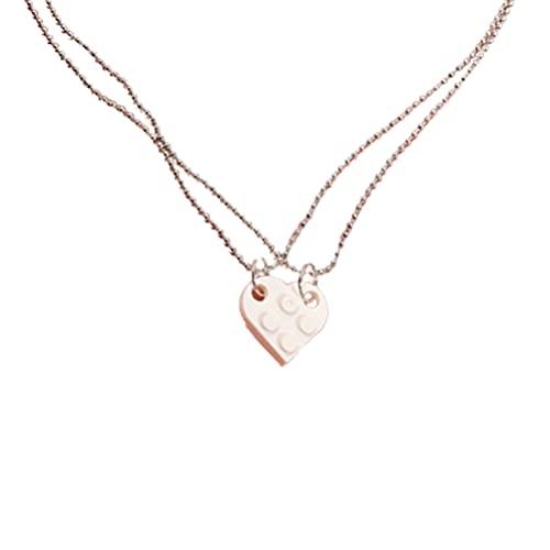 1 par de collar de bloque de construcción en forma de corazón, collar de ladrillo, colgante en forma de corazón, conjunto de joyas a juego, ideal para parejas, amantes de la amistad, novia