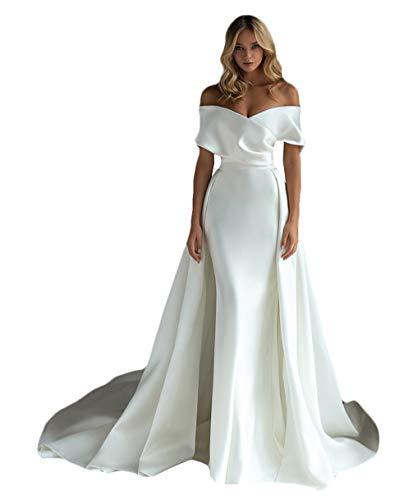 Abnehmbare Schleppe Sweetheart Satin Meerjungfrau Hochzeitskleider 2020 Mode Prinzessin Brautkleid Gr. 32, elfenbeinfarben