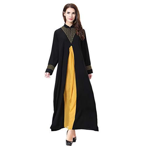AmyGline Muslimische Kleider Damen islamische Kleider Mittlerer Osten Einfarbig Stickerei Druck Langarm Kleid lang Strickjacke Robe Muslim Arab Kleid Dubai Kaftan Ramadan Kleider Gebet Kleid