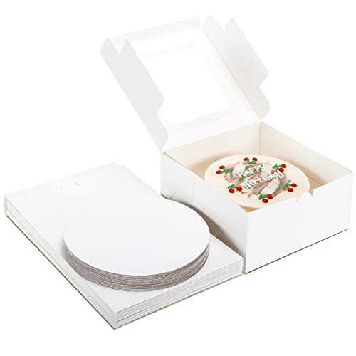 Moretoes Cake Boxes 15 Sets - 10x10x5 Inches Cake Bakery Boxes with Window and 10 Inches Round Cake Boards, Paperboard Disposable Cake Boxes for Cakes, Pastries, Cookies, Pie (15 Boxes + 15 Boards)