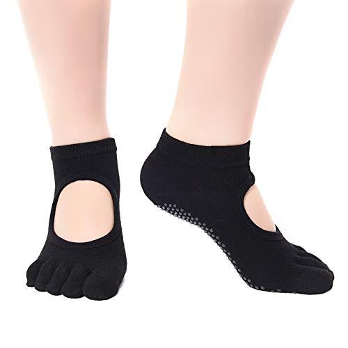 HEIGOO Calcetines de yoga para mujeres con agarres, tamaño 2 a 6.5 Calcetines antideslizantes de cinco dedos, uso para pilates, barra, ballet, danza, negro