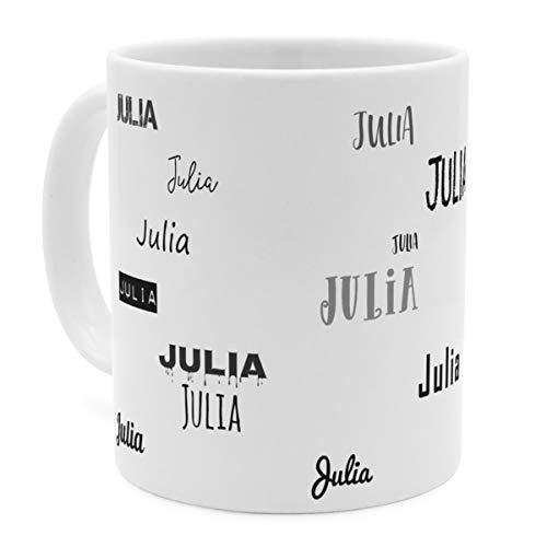 printplanet Tasse mit Namen Julia - Motiv Schriftarten Sammlung - Namenstasse, Kaffeebecher, Mug, Becher, Kaffeetasse - Farbe Weiß