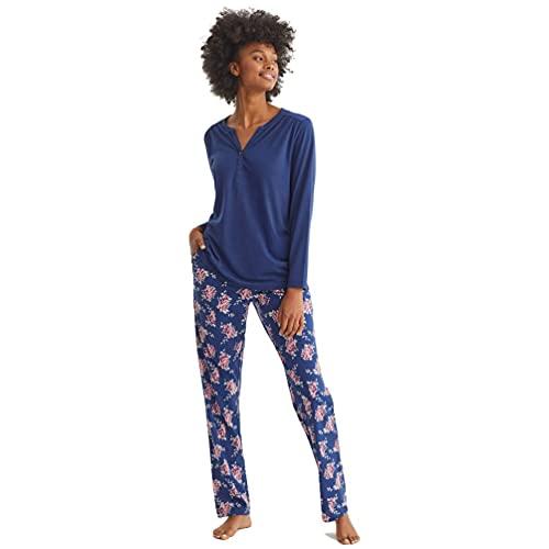 PROMISE Pijama de Mujer de Entretiempo Floral N11612 - Marino, XL