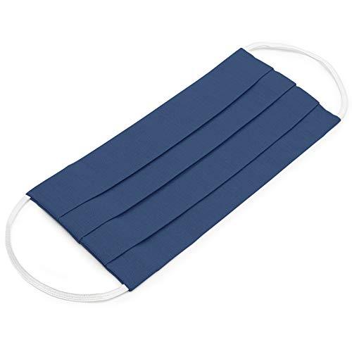 EllaTex 5er Pack Mund-Nasenschutz Masken/Atemschutz Maske Behelfsmaske Baumwolle WASCHBAR WIEDERVERWENDBAR in 10 Farben verfügbar, Farbe:Jeans - 2