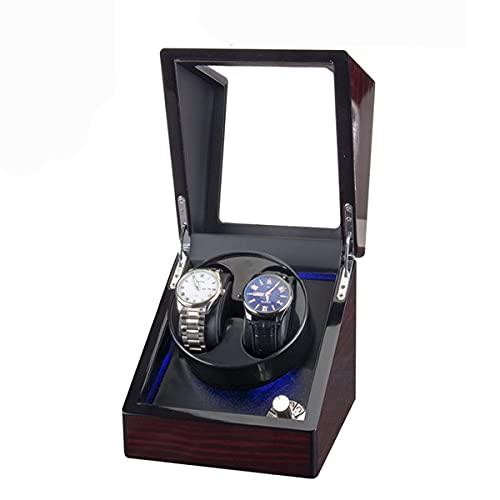 Bobinadoras de reloj doble para caja de relojes, relojes rotadores con luz LED, motor súper silencioso alimentado por CA (color negro)
