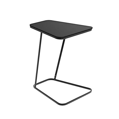 QULONG Side Sofa Table, Tray Table End Table Snack Table Laptop Table Slide Under Sofa Couch Bed, Blac/White - 20.5' L X 17.7' W X 24' H,Black