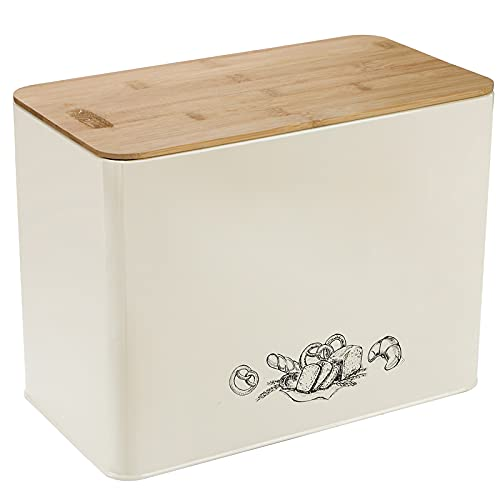 TOPZEA Bread Box for Kitchen Counter, 13' x 7' x 9.5' Farmhouse Metal Bread Bin with Bamboo Lid, Extra Large Vintage Breadbox Bread Container Bread Holder Keeper Counter Organizer Holds 2+Loaves