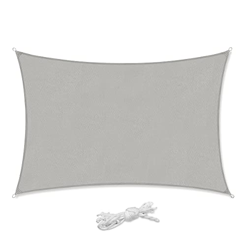Sekey Toldo Vela de Sombra Rectangular PES Impermeable Protección Rayos UV, Resistente para Patio, Exteriores, Jardín,con Cuerda Gris Claro 2×3m