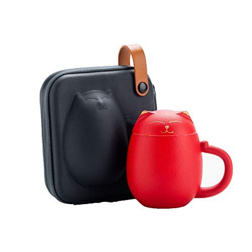 Ceramic Red Tee Cup-Infuser - 300ml - großer Tee-hochgefeuerter Keramik-Becher mit Deckel und Edelstahl-Infuser - Teetassengeschenk für EIN perfektes Set für Büro- und Heimgebrauch,Rot