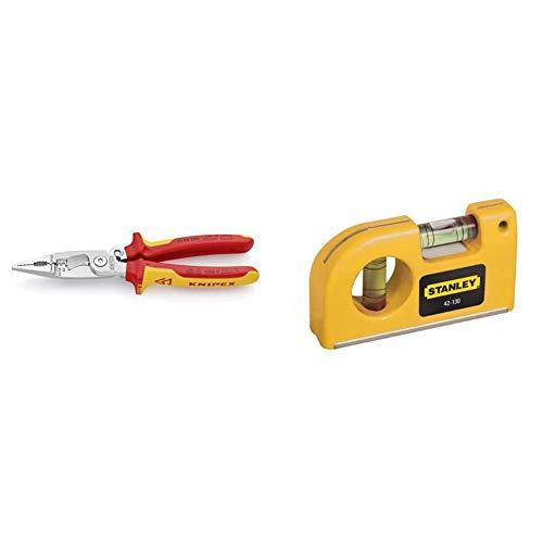 KNIPEX 13 96 200 Alicate para instalaciones eléctricas cromado aislados con fundas en dos componentes, según norma VDE 200 mm + STANLEY 0-42-130 Nivel de Bolsillo con 2 burbujas