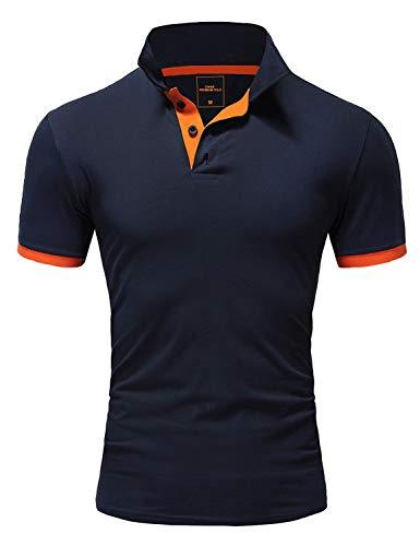 Amaci&Sons Herren Poloshirt Basic Kontrast Kragen Kurzarm Polohemd T-Shirt 5104 Navyblau/Orange XL