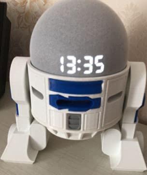 Suporte para Alexa Echo Dot 4- R2D2 Branco com detalhes azul