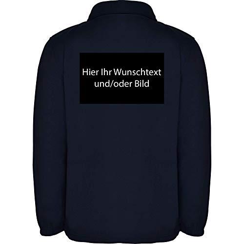 loco Personalized Herren Fleece Jacke Jacket Pullover Full Zip mit Ihr Wunschtext und/oder Bild L34 (Navy Blue, L)