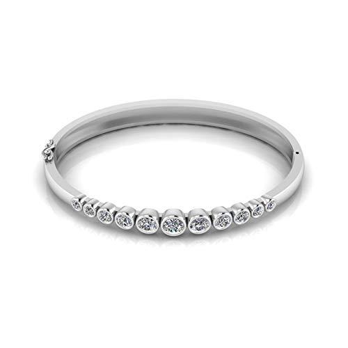 Jbr - Juego de pulsera de diamante de imitación de corte redondo para mujer, adolescente, niña, novia, esposa, con caja de joyería