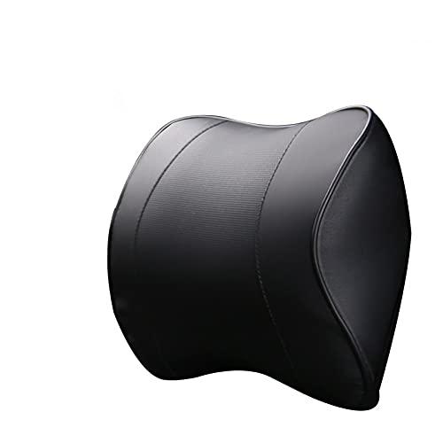 Reposacabezas del Coche Almohada PU Memoria de Cuero Espuma Cómoda Cuello Almohadilla Soporte Ajuste para la mayoría de los Autos Garantía de Calidad E1 X30 (Color : Black)