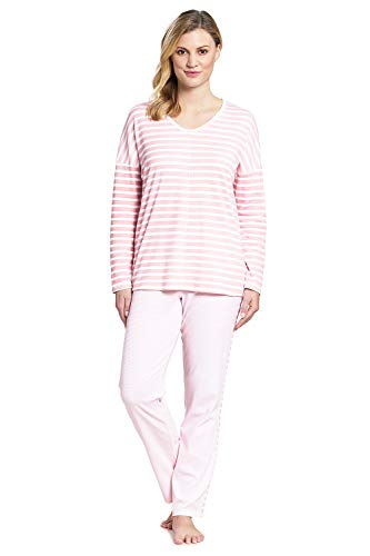 Rösch Damen Pyjama im Ringeldruck Blueberry, Smart Casual, 1193559 46 Candlelight Peach