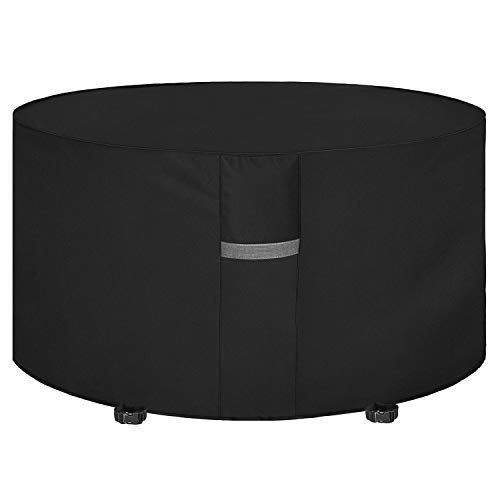 Dokon Garden Table Cover with Air Vent, Waterproof, Windproof, Anti-UV, Heavy Duty Rip Proof 600D Oxford Fabric Patio Set Cover, Garden Furniture Cover, Round (Ø190 x 80cm) - Black