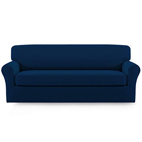 Easy-Going 2 Pieces Microfiber Stretch Sofa Slipcover – Spandex Soft Fitted Sofa Couch Cover, Washable Furniture Protector with Elastic Bottom Kids,Pet (Oversized Sofa, Navy)