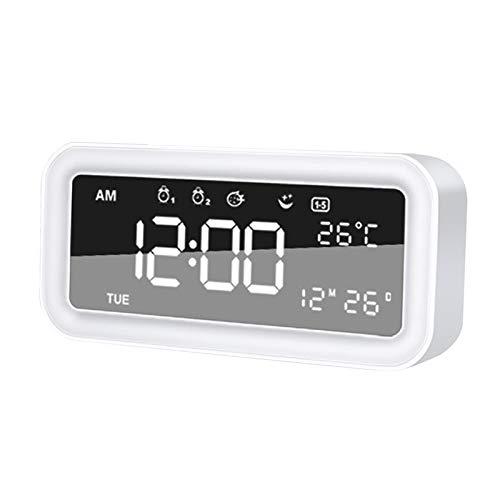 non_brand Despertador Digital de Escritorio Snooze 12 / 24Hr USB Cambio de Color Luz Nocturna Blanco