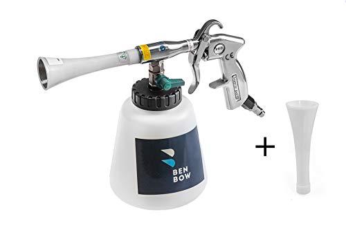 BenBow Druckluft Reinigungspistole | 004 + Classic Trichter TRÖTE | Innenreiniger mit | Tornado Effekt | Hochdruck Waschpistole Polsterreiniger für Autopflege autositze