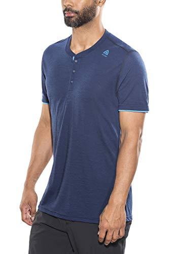Aclima LightWool T-Shirt à col Tunisien Homme, Insignia Blue/Blithe Modèle 2XL 2019 T-Shirt Manches Courtes