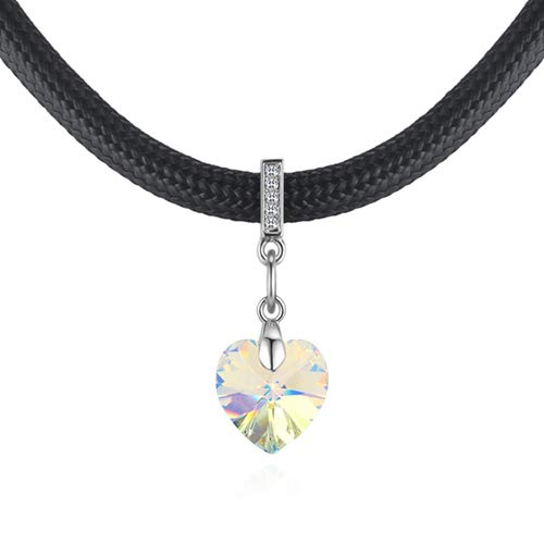 ZYHDXL Charming Classic Heart Choker Pendant Necklace With Crystal Jewelry For Girls Crystal AB