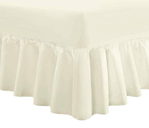 Divine Textiles Luxus-Volant-Spannbettlaken, extratief gefältelt, Polycotton, cremefarben, King Size