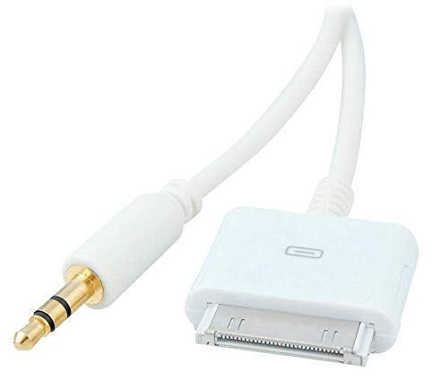 Stereo 3.5mm AUX Input to 30-Pin Male Dock Connector Cable Adapter (White)
