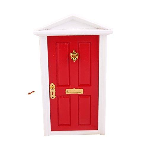 1:12 Puppen Haus Miniatur 4 Panel Außentür Wohnungstür Zimmertür Rot