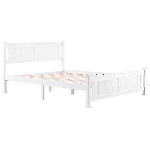 Knocbel Bed Frame with Headboard and Footboard, Solid Wood Platform Bed Mattress Foundation with Slats Support, NO Box Spring Needed, White (Full)