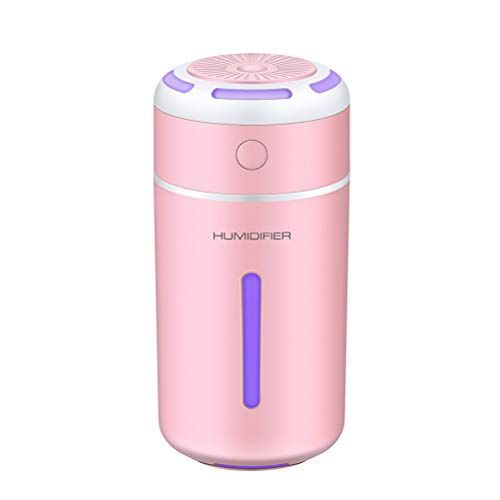 Vosarea Mini difusor de Aromas (portátil USB Carga humidificador de Cambio de Color Difusor de Aceite Esencial para Coche Oficina (Rosa)