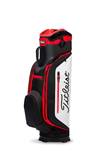 Titleist Club 7 Golf Cart Bag, Black/White/Red