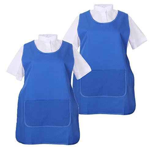 MISEMIYA - Pack*2 Pcs - Delantal Limpieza Uniforme Laboral CLINICA MÉDICOS Limpieza Veterinaria Sanitarios HOSTELERÍA- Ref.868 - L, Azul