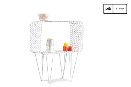 Andover Scandinavische bijzettafel - Multifunctioneel, Makkelijk te combineren, 100% metalen product | Een klein Scandinavisch meubelstuk met een vintage karakter - Verkeerswit (L47 x H60 x P25 cm)