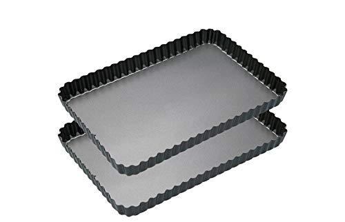 EUROXANTY® Molde Desmontable para Horno | Molde Rectangular Quiché | Molde Acero al Carbono | Molde Antiadherente | Molde Masa quebrada | Rectangular 2 Unidades