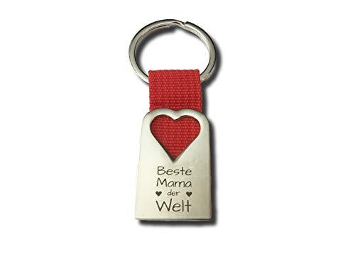Schlüsselanhänger mit Spruch Mama Geschenk I Geschenk für Mama von Tochter Sohn I Geburtstagsgeschenk für Mama (Beste Mama der Welt)