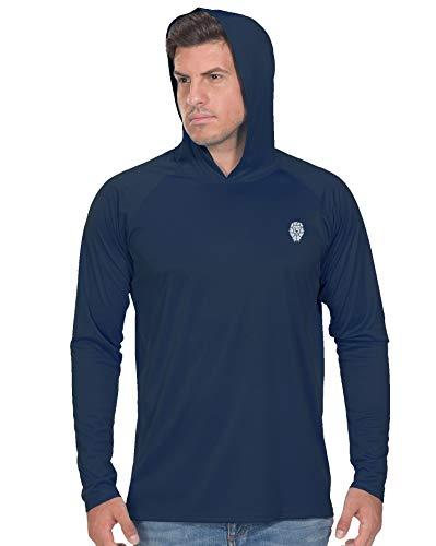 Men's Sun Protection UPF 50+ UV Outdoor Long Sleeve Dri-fit T-Shirt Rashguard L Navy Blue