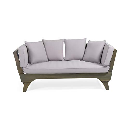 Christopher Knight Home 312938 Norman Outdoor Acacia Wood Expandable Daybed with Water Resistant...