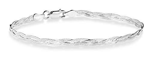 Miabella 925 Sterling Silver Italian 3-Strand Diamond-Cut 4mm Braided Herringbone Chain Bracelet for Women Teen Girls 6.5, 7, 7.5, 8 Inch 925 Italy (7)
