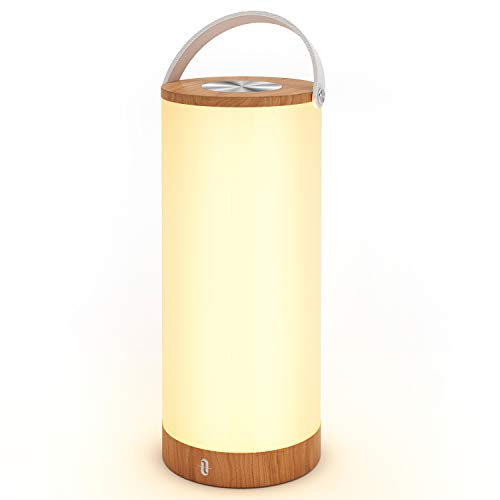 TaoTronics Table Lamp, Portable Night Light, Touch Sensor Bedside Lamp for Baby Room, Bedroom, Outdoor, Cordless One-Handle Design, 4000mAh Rechargeable Battery, 3000-3500K Color Temperature