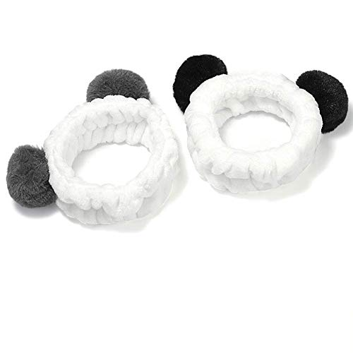 2pcs Haarband, Frauen Mädchen Nettes Panda Ohr Stirnband Make up duschkopf Haarband (Black Ear and Grey Ear)