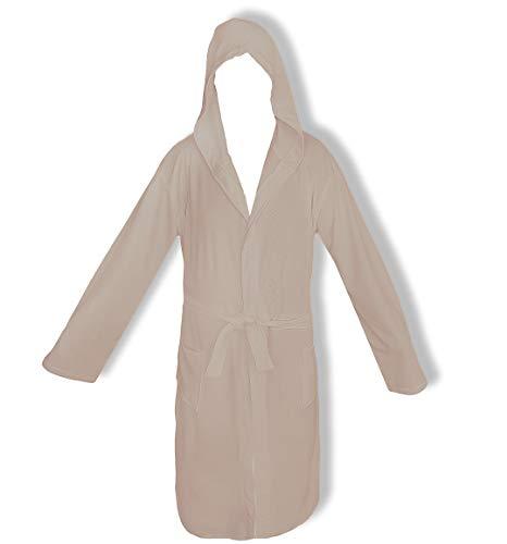 Bademantel für Damen mit Kapuze Perlarara Größe S - M - L - XL - XXL Neuheit Baumwolle Frottee Lacoste Salvaspazio (Tortora, XL/XXL - 54/58)