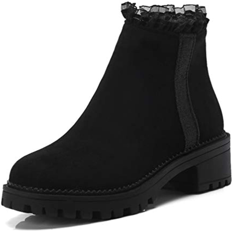 T -JULY kvinnor Winter Platform Ankle stövlar Ruffles Ruffles Ruffles Square Heel stövlar Damer Zip bspringaaa svart Plus Storlek kort kort Shore skor  spara upp till 80%