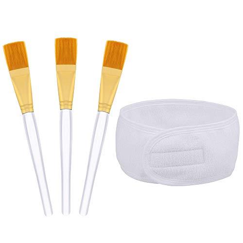 XAVSWRDE 4 Stück Masken Set Maskenpinsel Set mit 1 Haarband und 3 Bürste Kosmetik Gesichtsmask Pinsel Set Schminken Werkzeug Set für Gesichtsmasken,Augenmasken oder DIY (Weiß)
