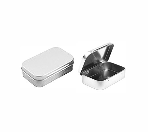 Rectangular Empty Hinged Tin Box Containers With Solid Hinged Top. Blank Altoid Tin: Use for First Aid Kit, Survival Kits, Storage, Herbs, Pills, Crafts and More. (3, Solid Top: 3.63' X 2.32' X .76')