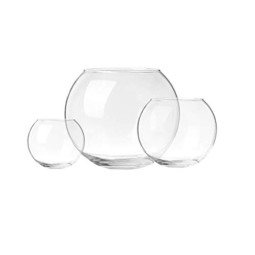 Incrizma Imported - Terarium Glass Bubble Bowl, Fish Bowl, Rose Bowl - Glass Round Vase, Events, Decorating, Arrangements for Office, or Home Decor (Set of 3)