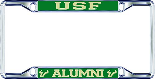 Elite Fan Shop South Florida Bulls License Plate Frame Alumni - Silver