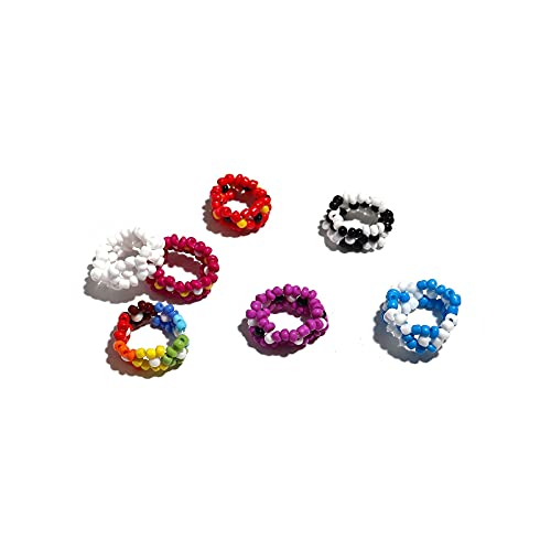 8pcs Colorful Beaded Daisy Flower Stretch Rings Set Handmade Seed Beads Multicolor Adjustable Elastic Multiple for Women Girls Summer Beach Bohemian Holiday Jewelry