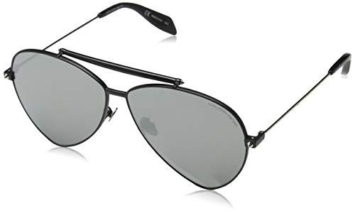 Alexander McQueen AM0058S 001 63 Gafas de sol, Negro (001-Black/Silver), Hombre