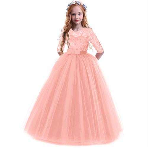 Flower Girls 3/4 Sleeve Maxi Tulle Lace Wedding Bridesmaid Dresses for Junior Party Dress Floor Length A Line Formal Pageant Long Prom Evening Dance Ball Gowns for Kids Pink 5-6 Years